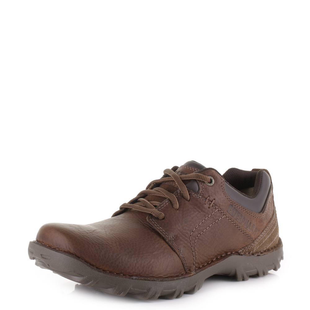 mens caterpillar emerge peanut leather lace up casual