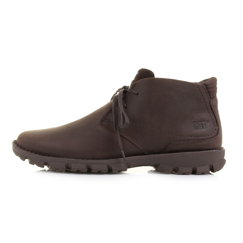 mens caterpillar mitch chocolate brown leather lace up