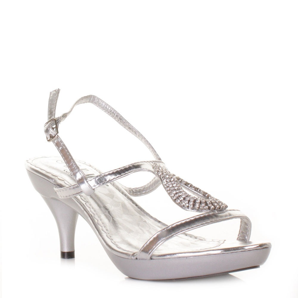 womens ladies low heel silver strappy slingback prom