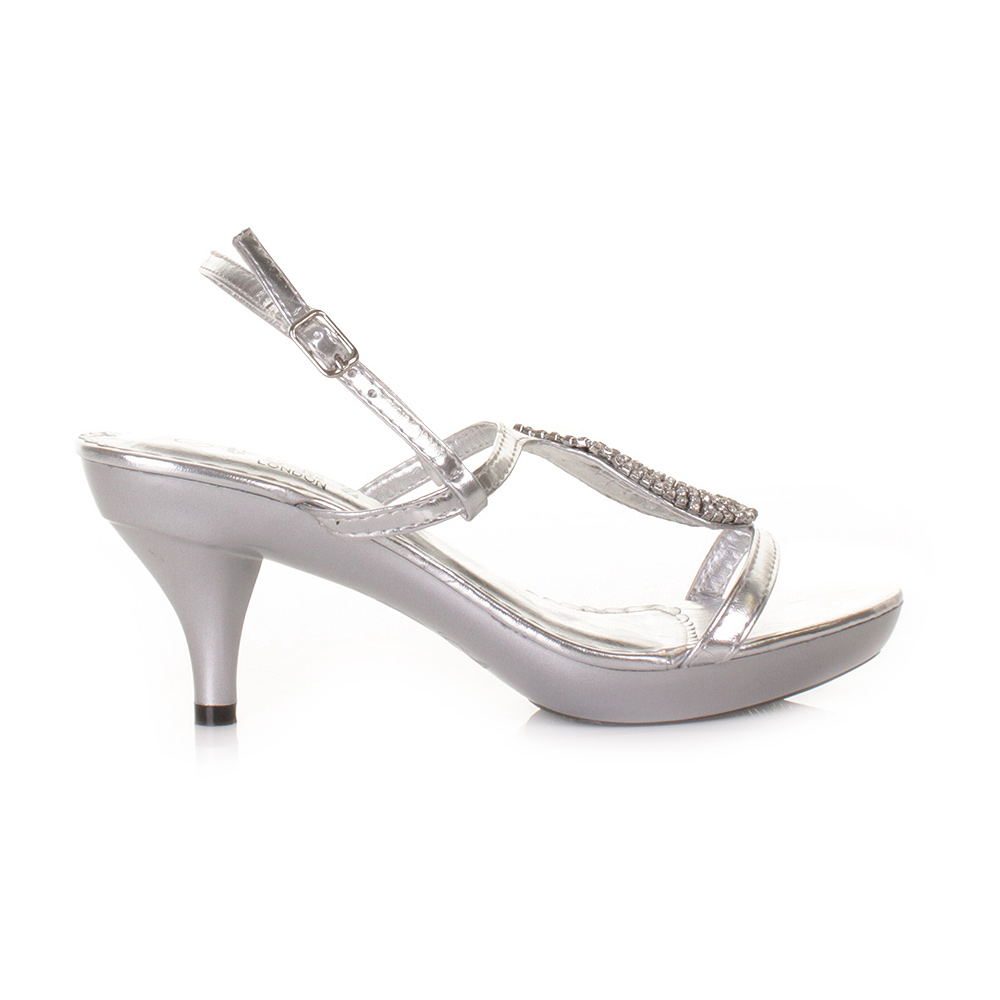 Women Low Heel Silver Strappy Slingback Prom Wedding Shoes Size 5 ...