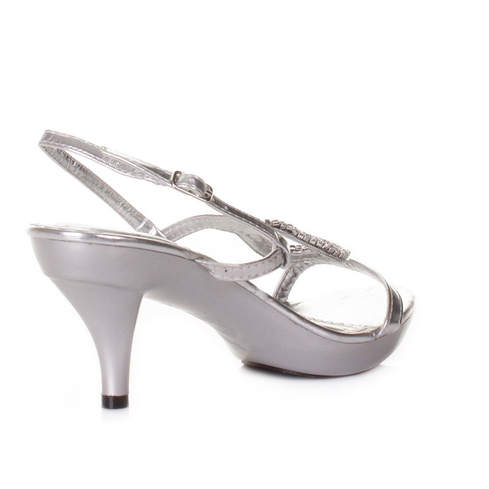 Women Low Heel Silver Strappy Slingback Prom Wedding Shoes Size 5 10