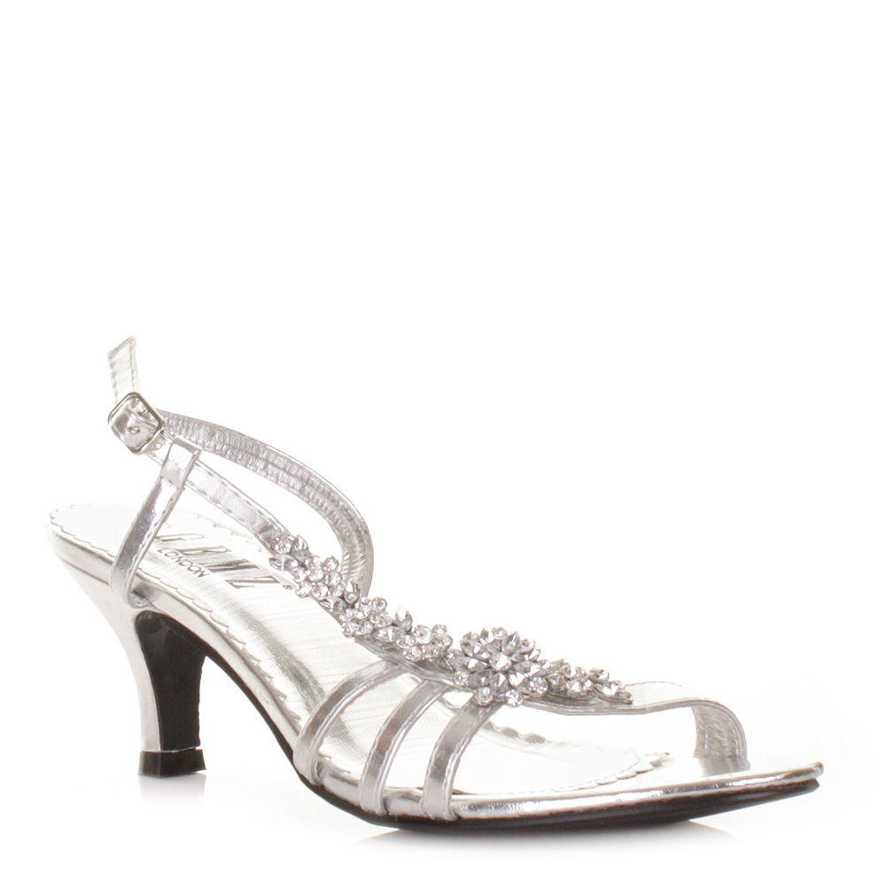 Silver Wedding Sandals Low Heel Low Heel Sandals