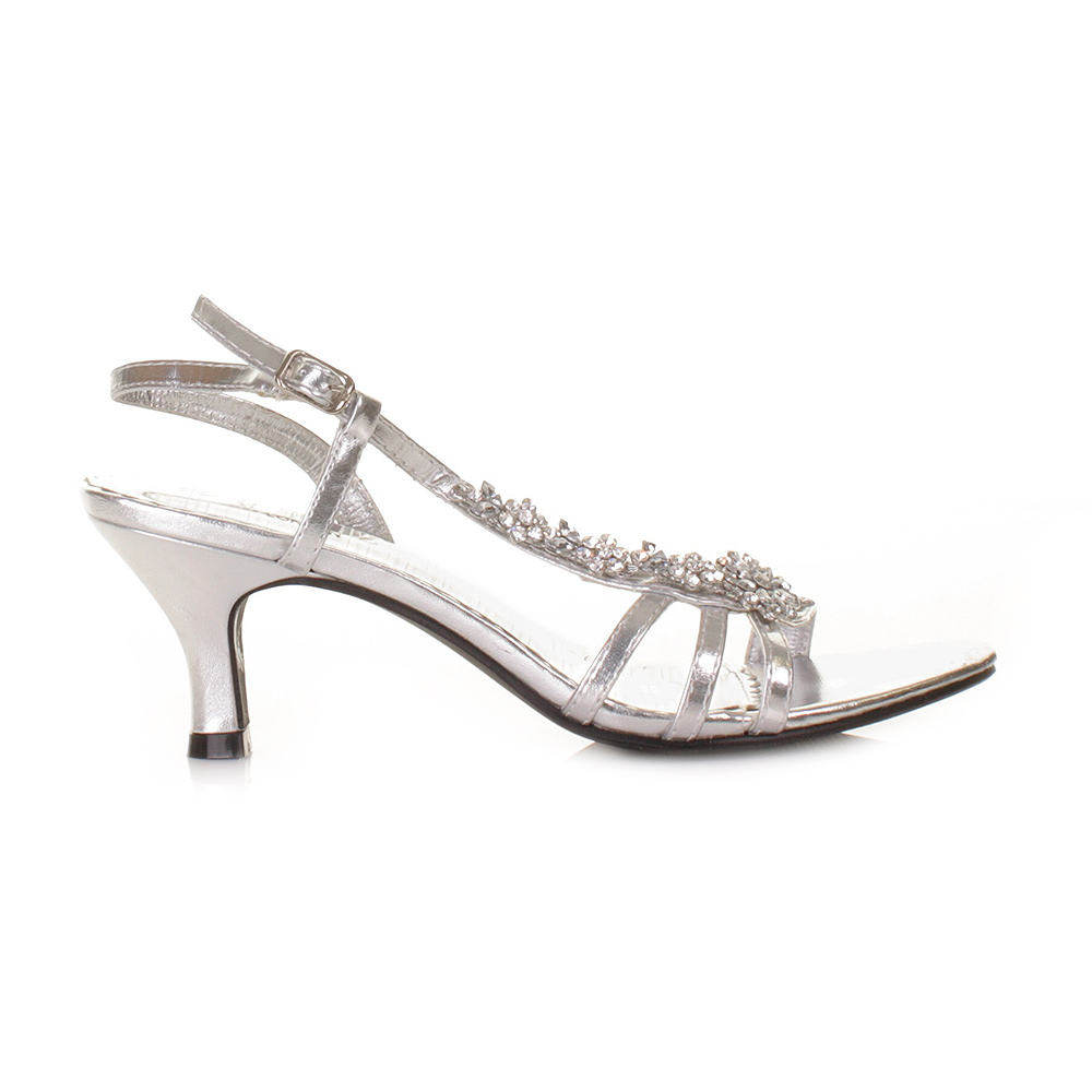 Low Heel Prom Shoes Silver