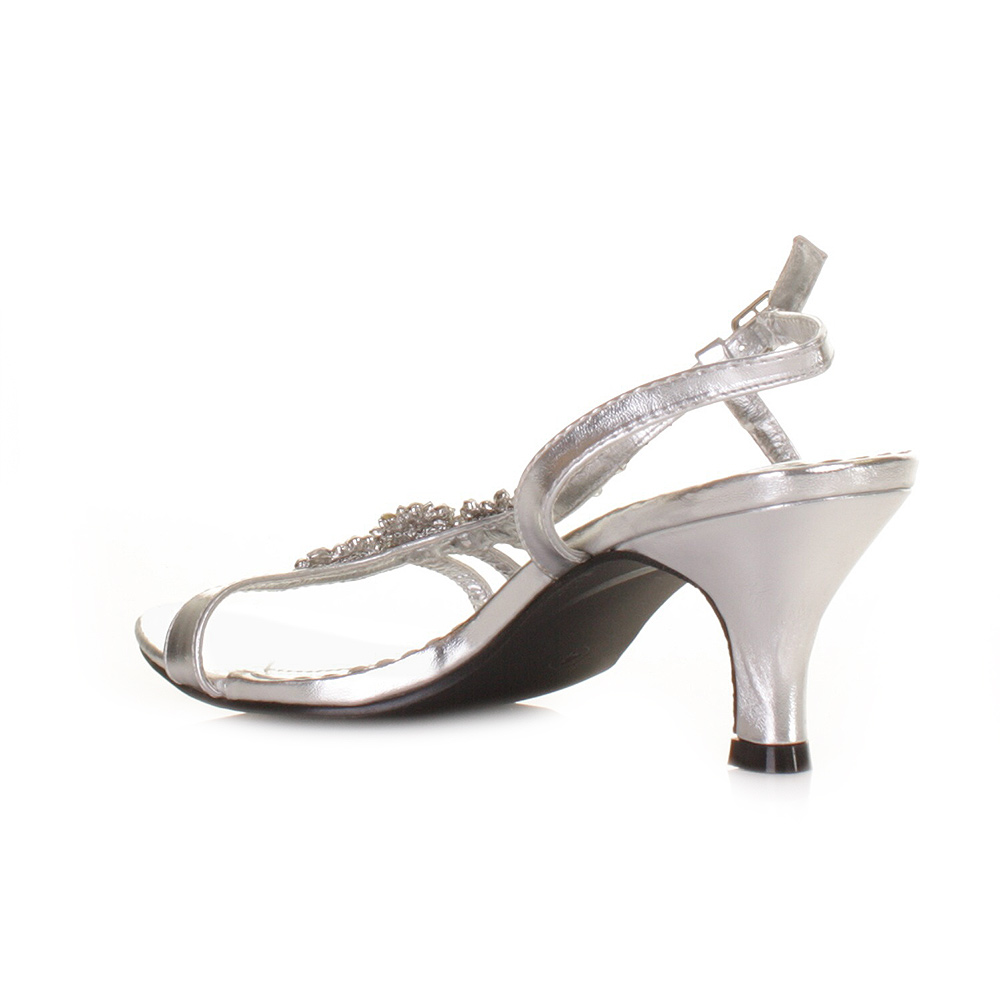 womens low heel silver flower diamante slingback prom