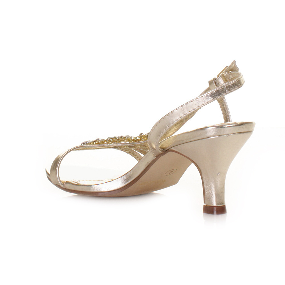 heel gold flower diamante slingback prom wedding shoes size 3 8 ebay