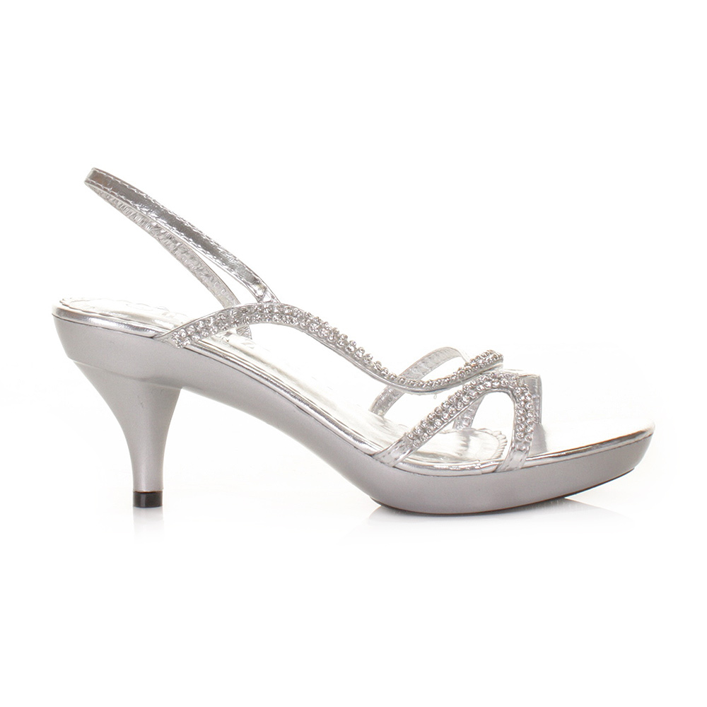 WOMENS LOW HEEL SILVER STRAPPY SLINGBACK PARTY PROM LADIES SHOES ...