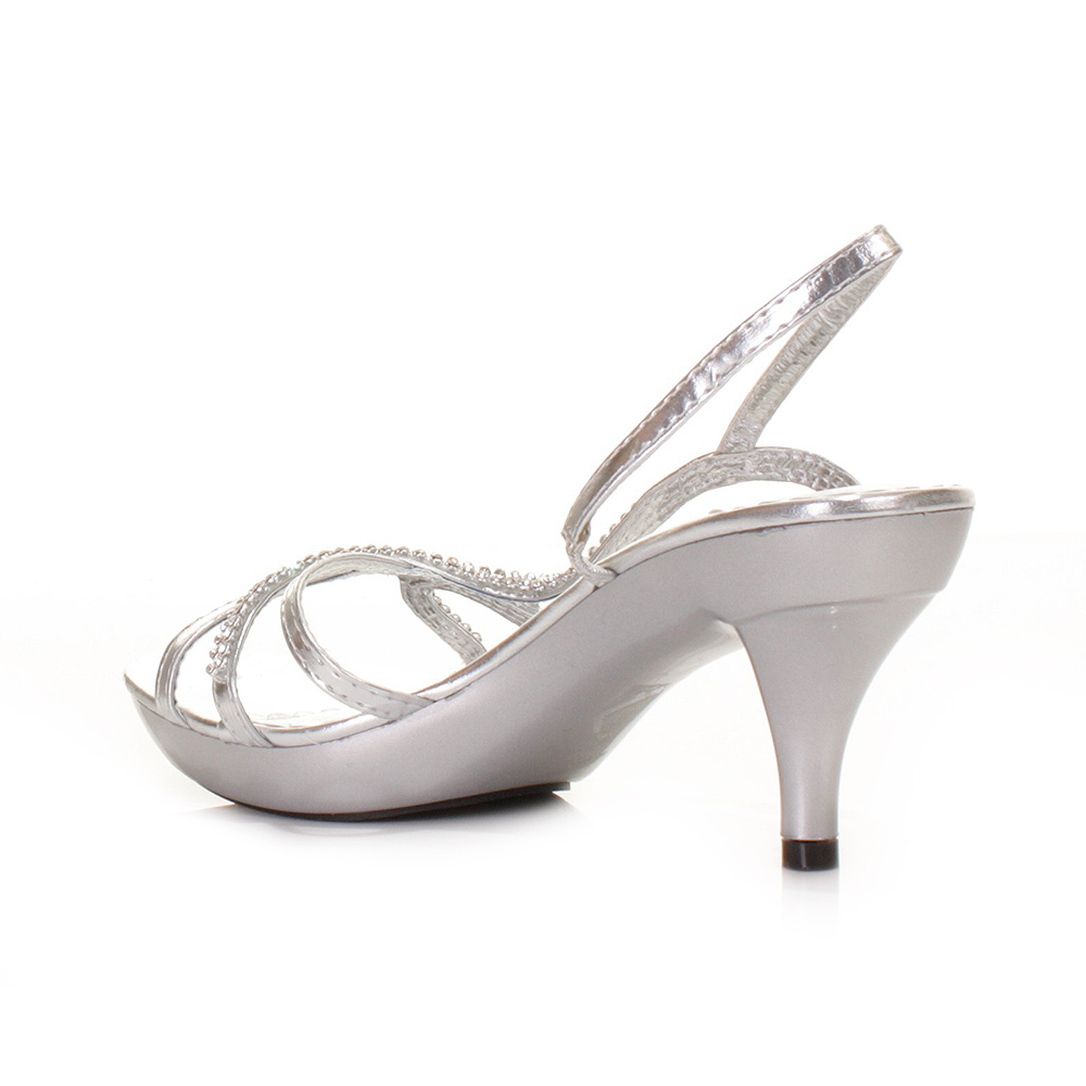 Strappy Shoes Womens Low Heel Silver Slingback Party Prom