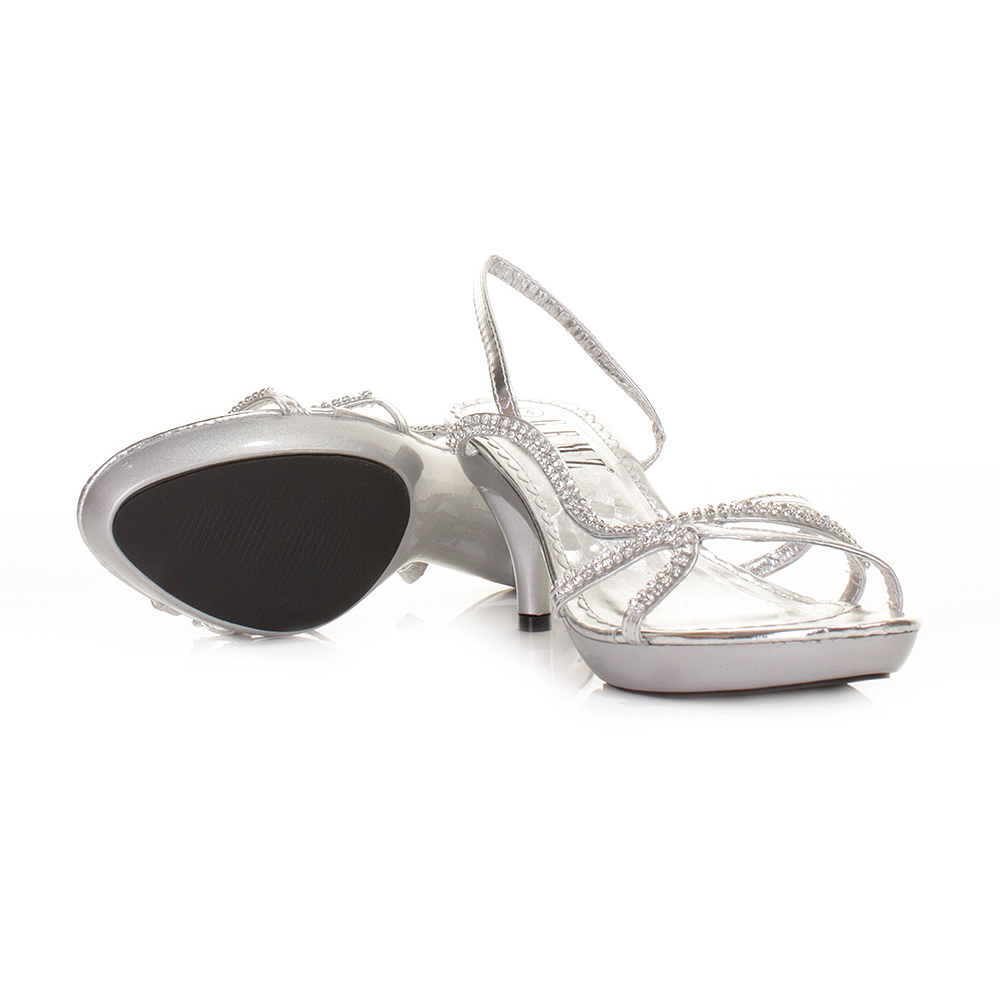 Strappy Shoes Womens Low Heel Silver Slingback Party Prom Size 5 10