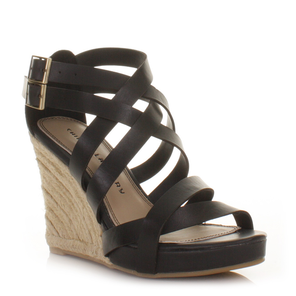 black strappy wedges sandals www imgkid the image