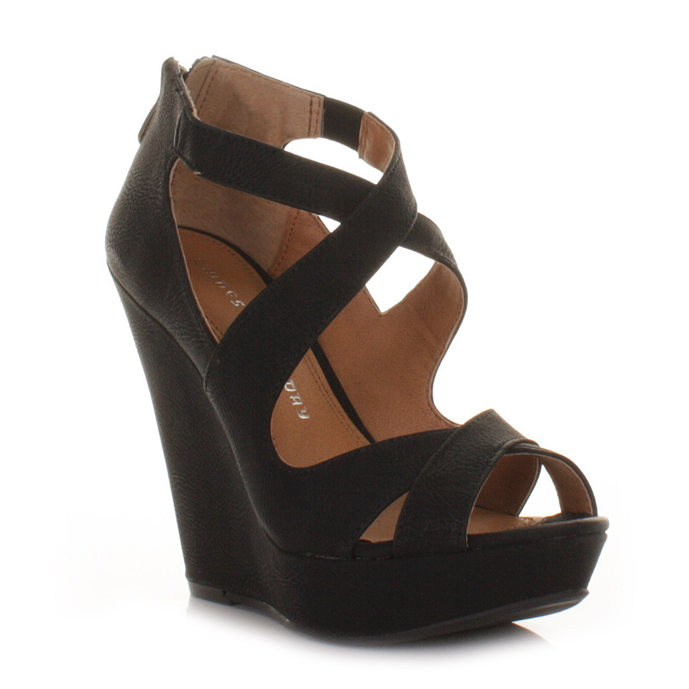 Womens Black Chinese Laundry Motion Cross Strappy Wedge