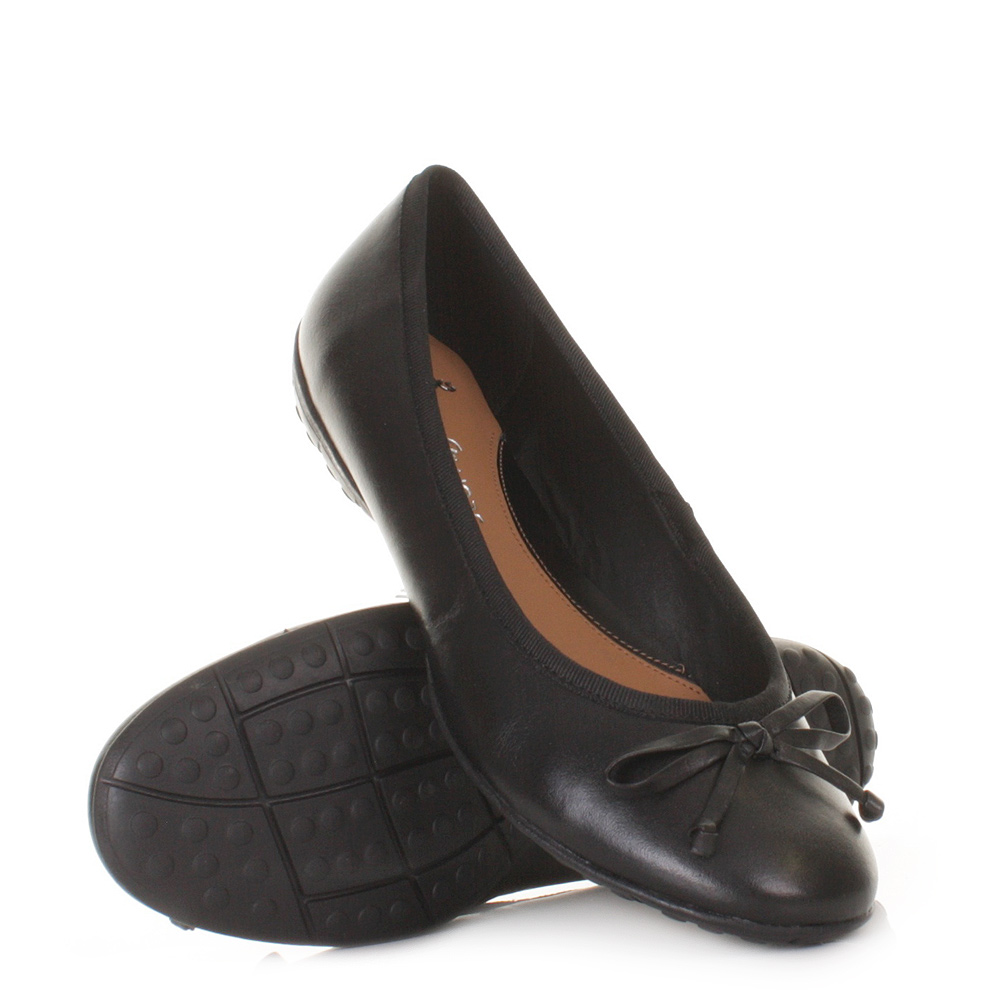 womens clarks arizona black leather flat soft ballerina