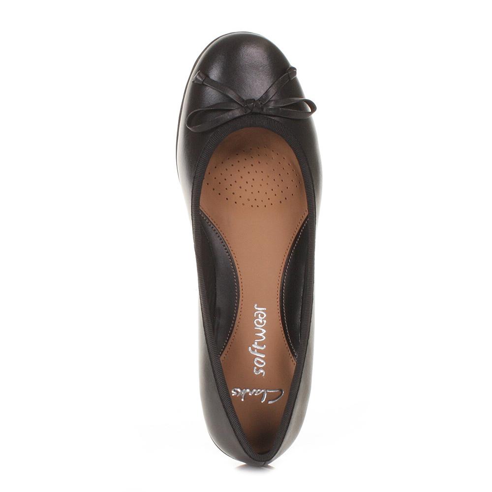 womens clarks arizona black leather flat soft ballerina