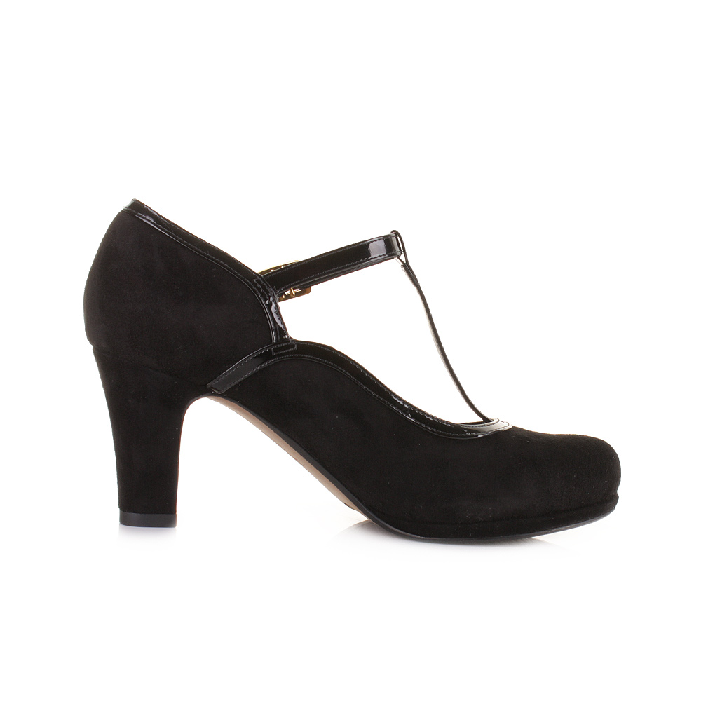 Suede High Heel Court Shoes Vintage Style With Buckle