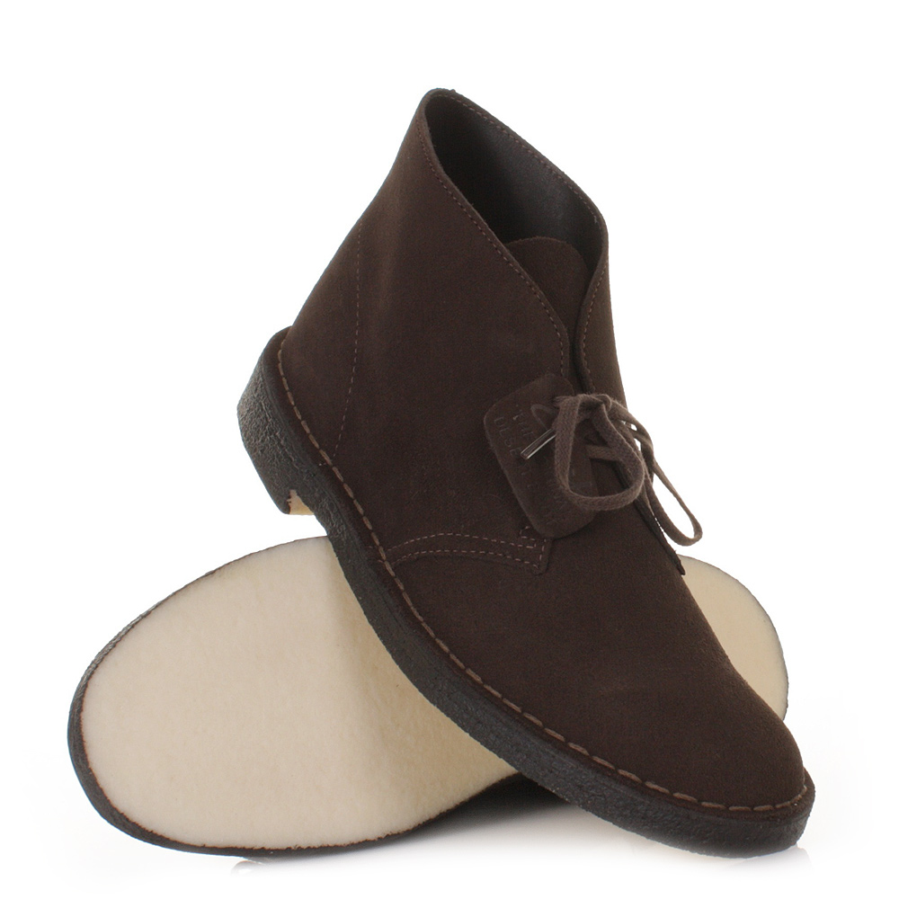 mens clarks desert boot4 brown suede lace up smart ankle