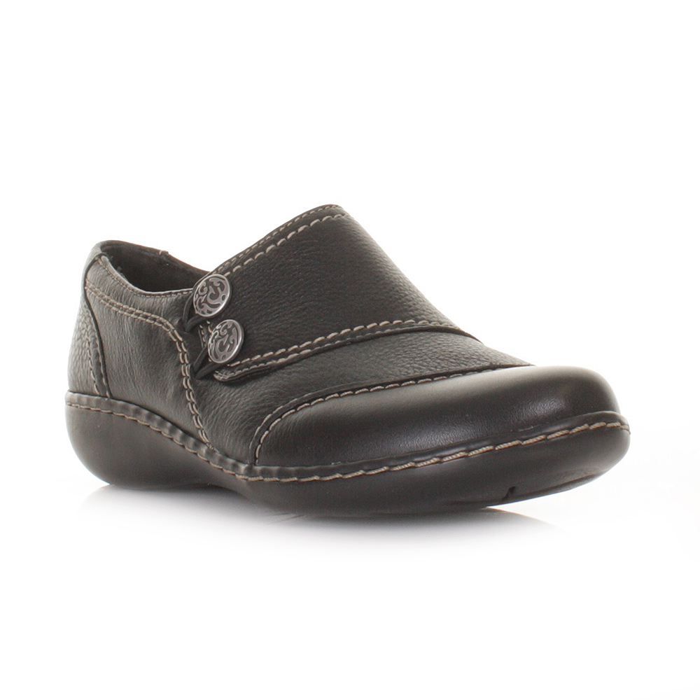 Clarks Faze Fever Black Leather Womens Shoes - Clarks from Charles Clinkard UK