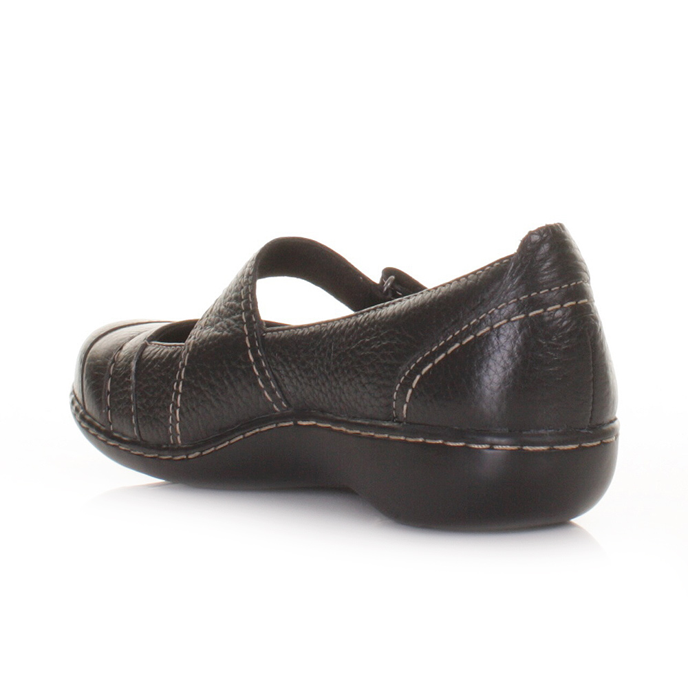 womens clarks embrace chat black leather flat