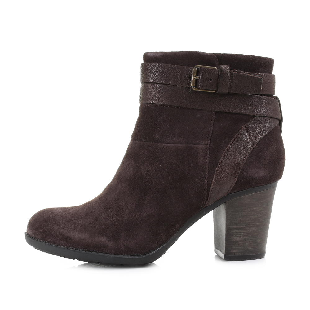 womens clarks enfield river brown suede heeled ankle boots