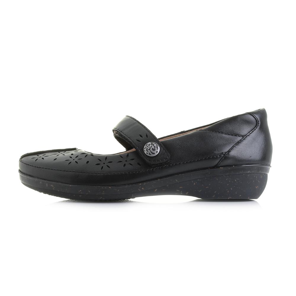 Womens Clarks Everlay Bai Black Flat Mary Jane Leather ...