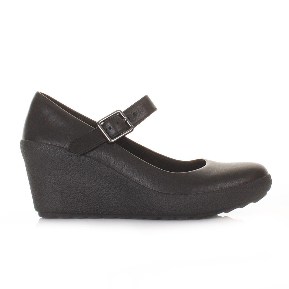 womens clarks flake berry black leather wedge heel