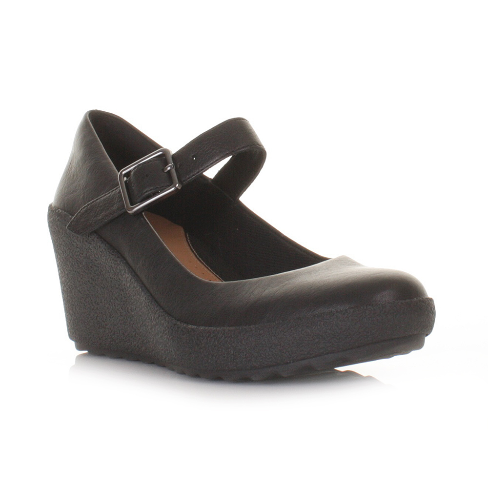 womens clarks flake berry black leather wedge heel