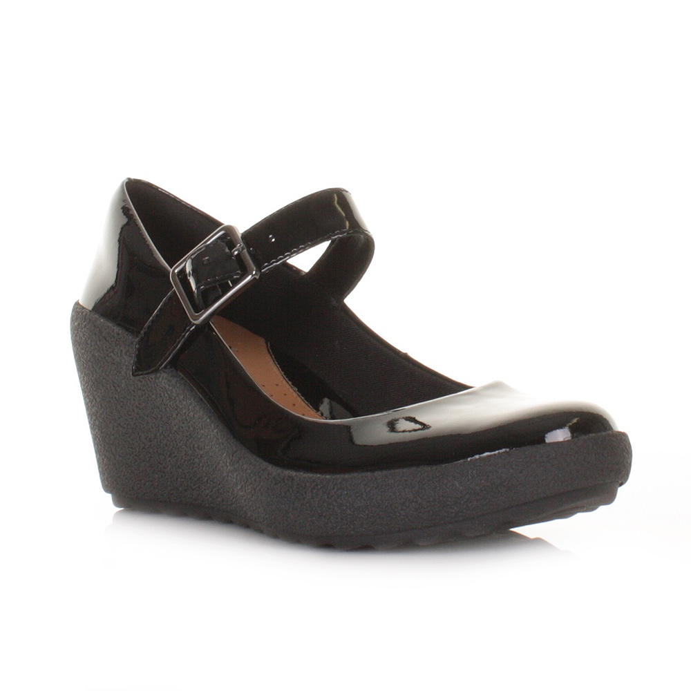 Black Patent Wedge Heels