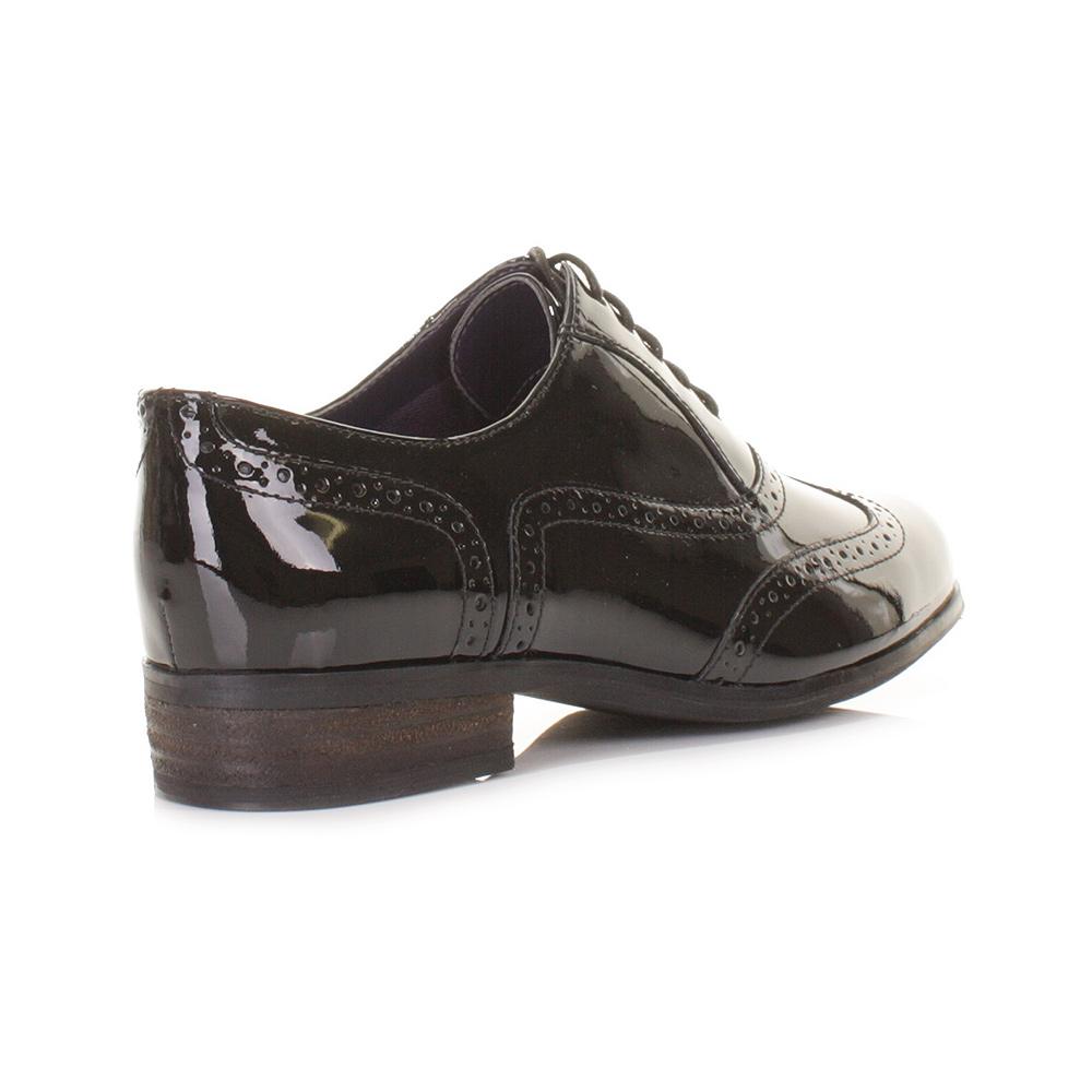 Clarks Ladies Black Patent Brogue Shoes
