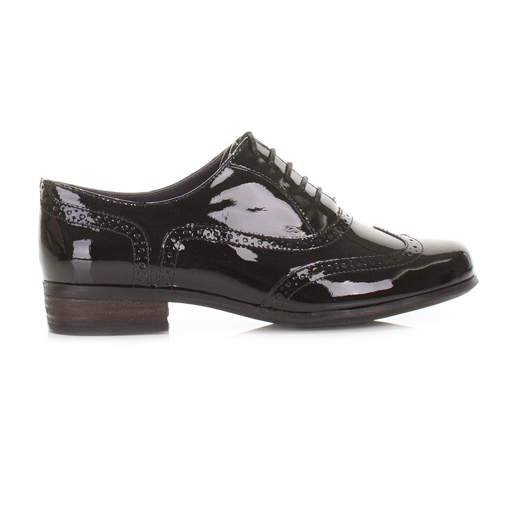 womens clarks hamble black patent leather lace up brogue