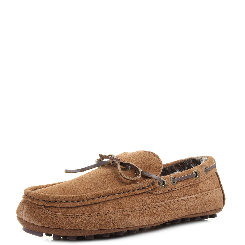 Mens Clarks Kite Brave Tan Suede Faux Fur Lined Moccasin Slippers Shu Size