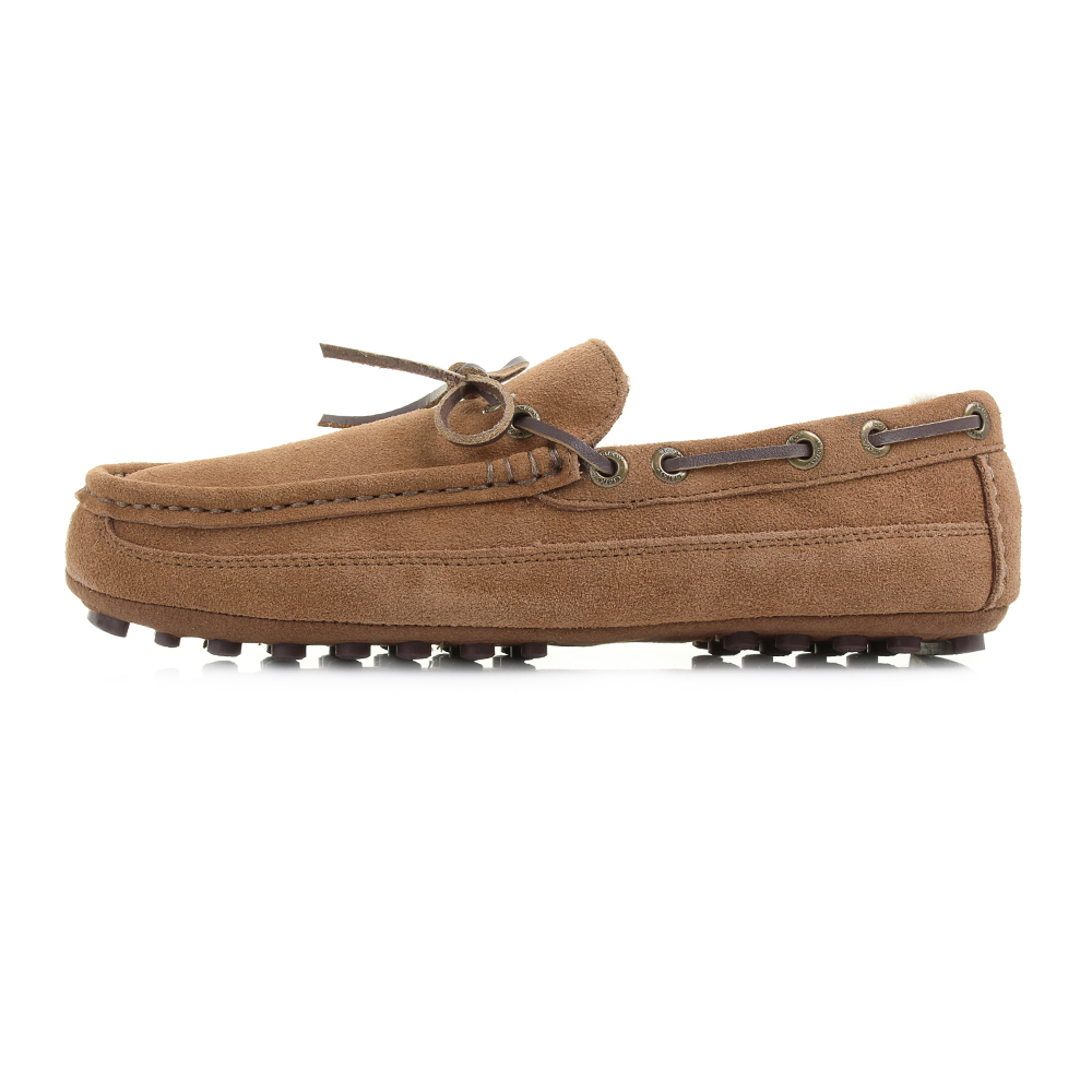 Mens Clarks Kite Brave Tan Suede Faux Fur Lined Moccasin