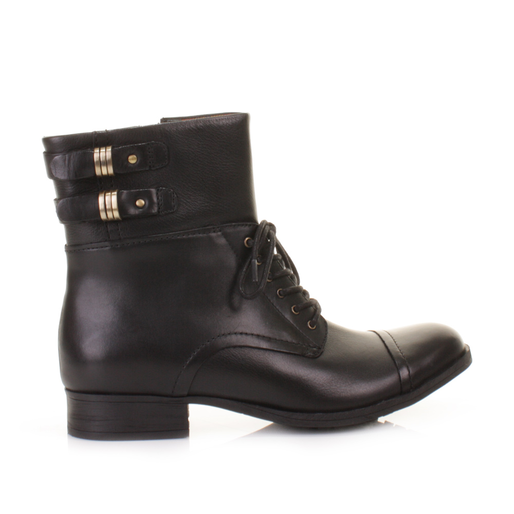 WOMENS CLARKS MIMIC PLAY LEATHER MILITARY LACE UP ANKLE BOOTS ...