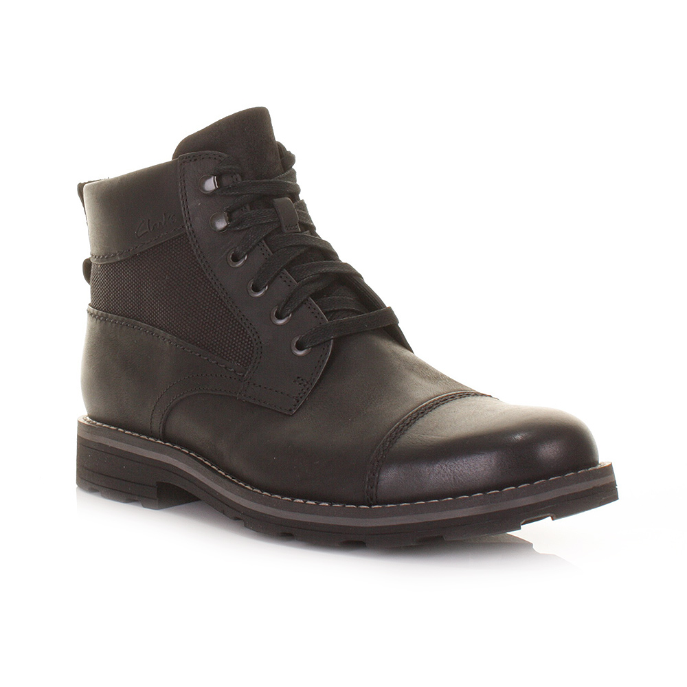 mens clarks naylor limit black leather lace up utility