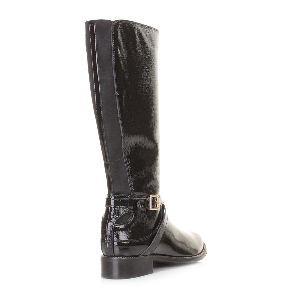womens clarks clare black patent leather knee high