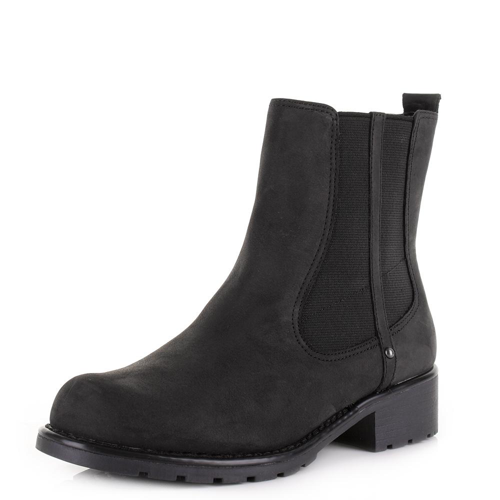 womens clarks orinoco club black leather comfort chelsea