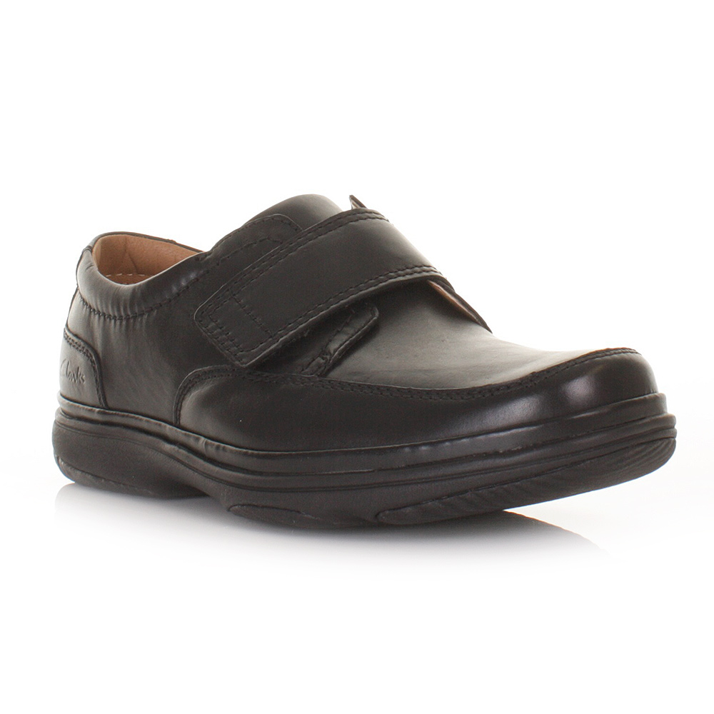 clarks mens turn black leather wide fit h velcro