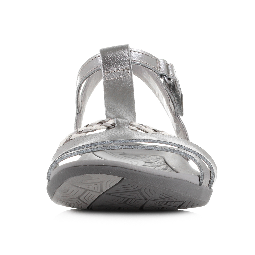 Womens Clarks Tealite Grace Silver Flat Leather Sandals ...