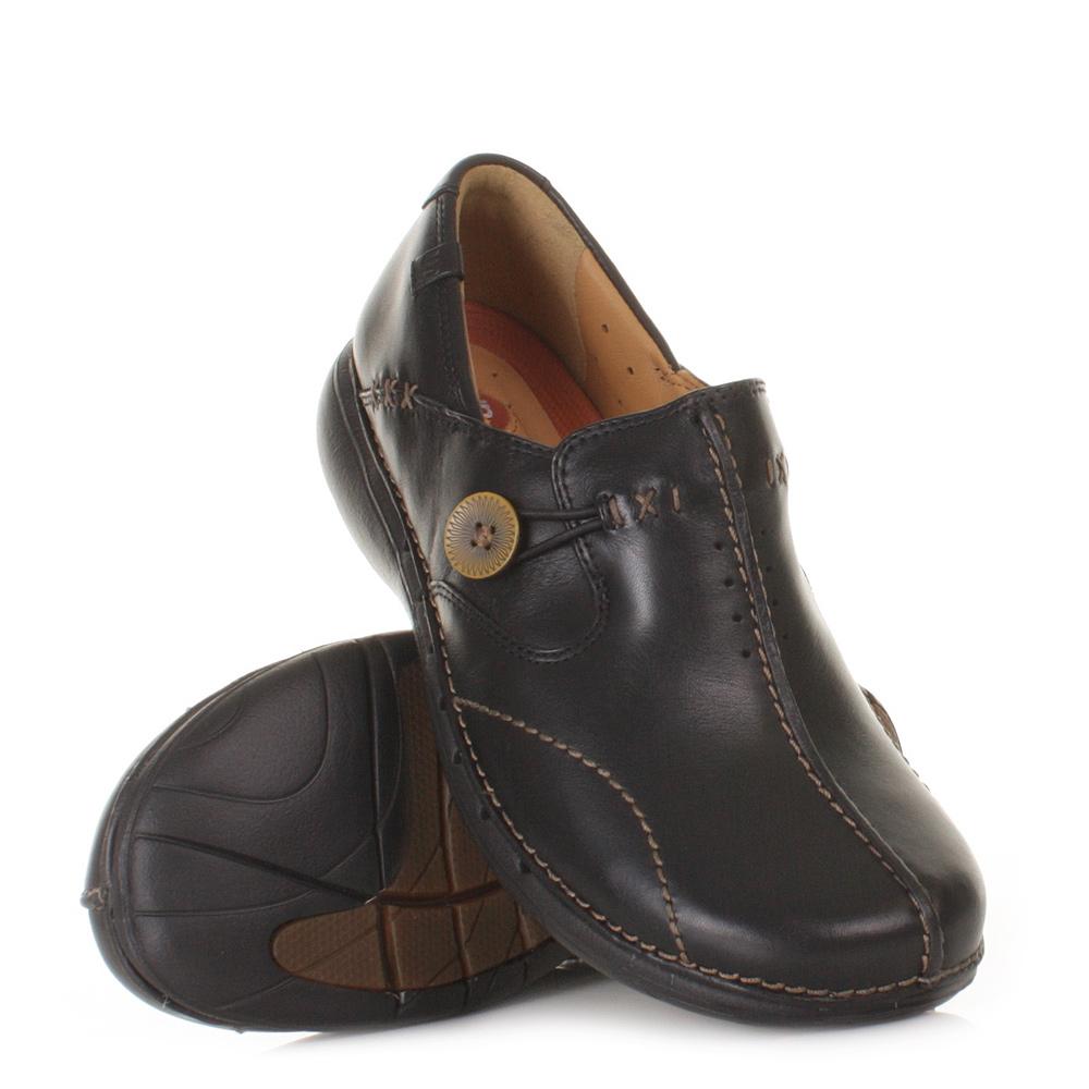 womens clarks unloop flat comfy black leather smart casual