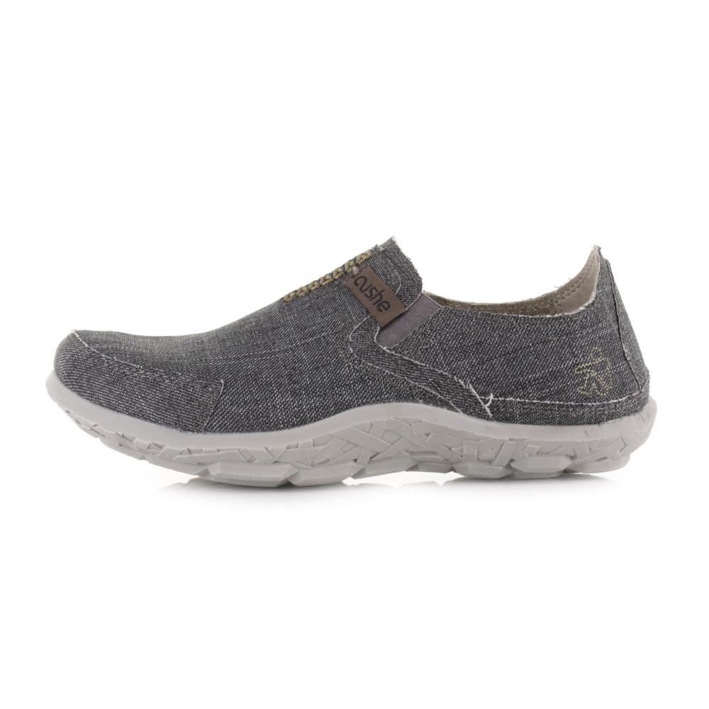 mens cushe slipper washed black slip on casual comfort