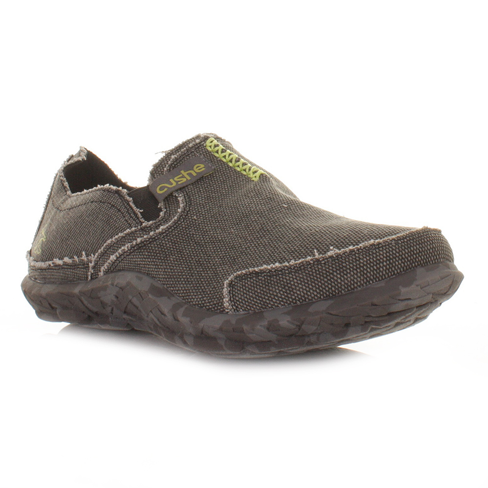 mens cushe black comfy canvas casual slip on shoes