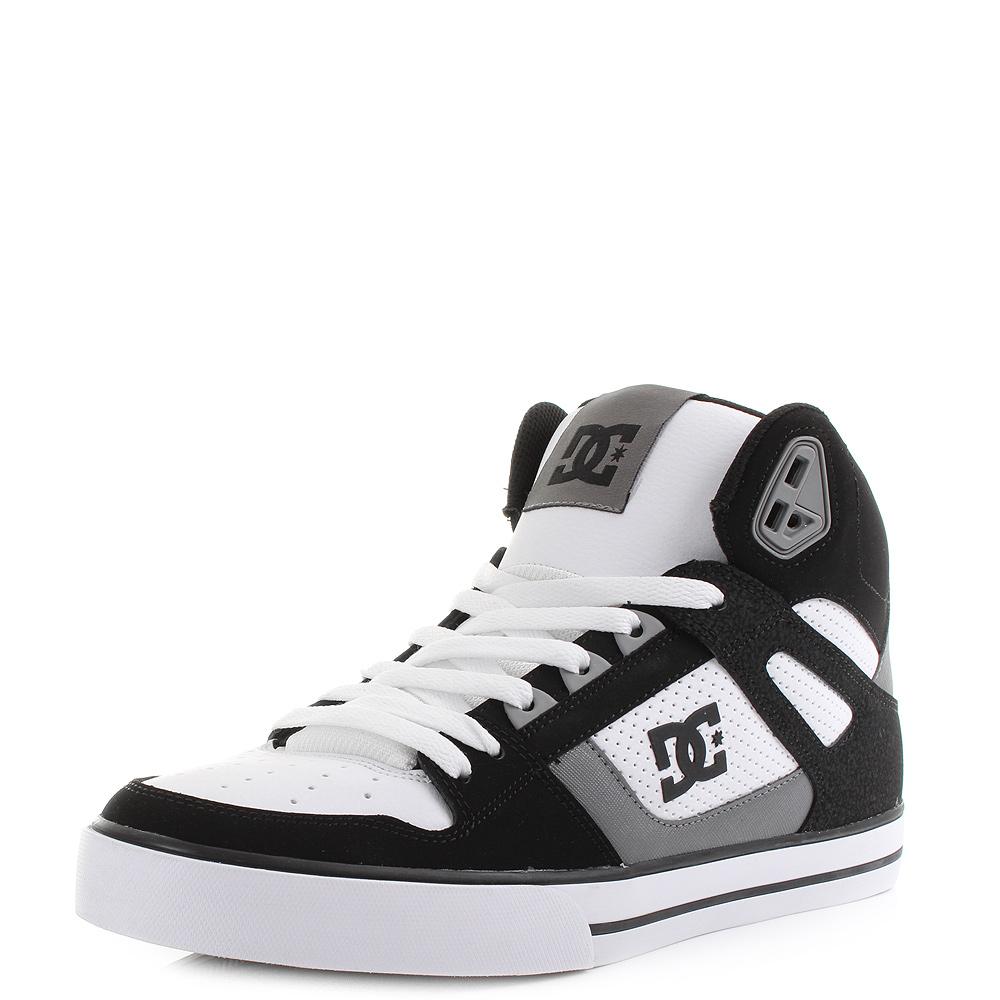 mens dc spartan high wc black grey white high top skate