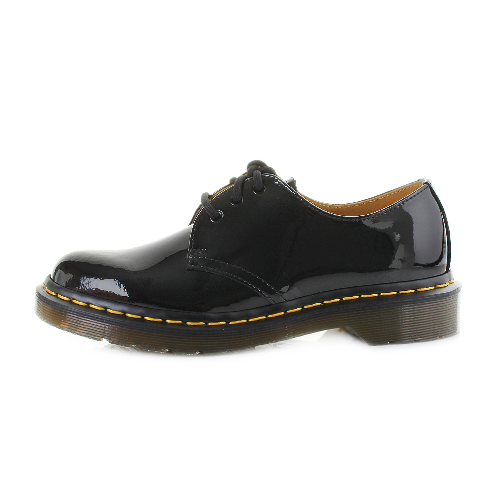 womens dr martens 1461 black patent lamper lace up shoes sz size. Black Bedroom Furniture Sets. Home Design Ideas
