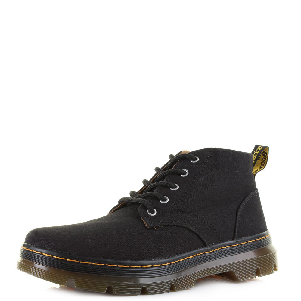 womens dr martens bonny black canvas ankle lace up boots