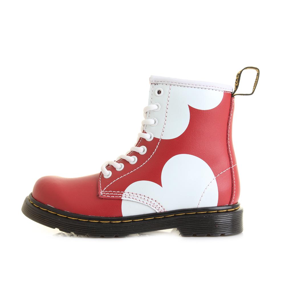 Girls Kids Dr Martens Delaney Junior Heart Lamper Red Ankle Boots ...