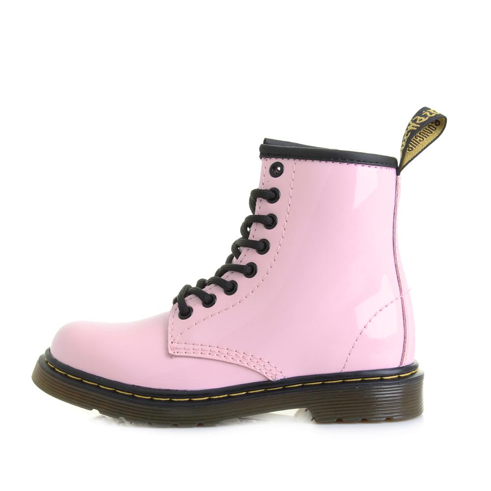 Girls Kids Dr Martens Delaney Junior Baby Pink Patent Ankle Boots ...