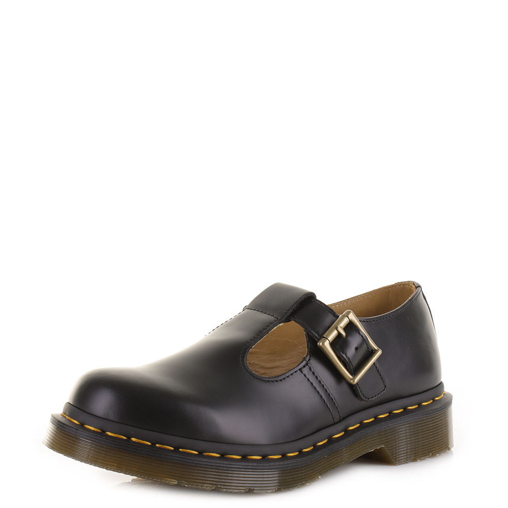 womens dr martens polley black smooth t bar leather school work dm shoes uk size ebay. Black Bedroom Furniture Sets. Home Design Ideas