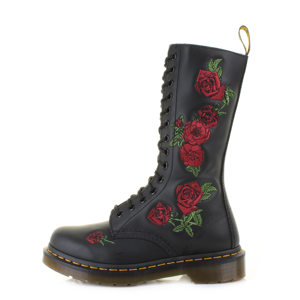 Womens Dr Martens Vonda Black Softy T Rose Red Leather ...