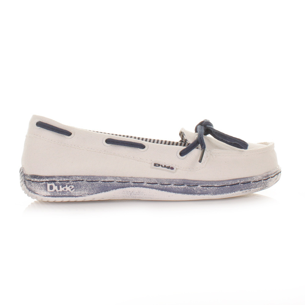 Womens Dude Moka Navy Blue White Deck Boat Shoes Ladies Loafers ...