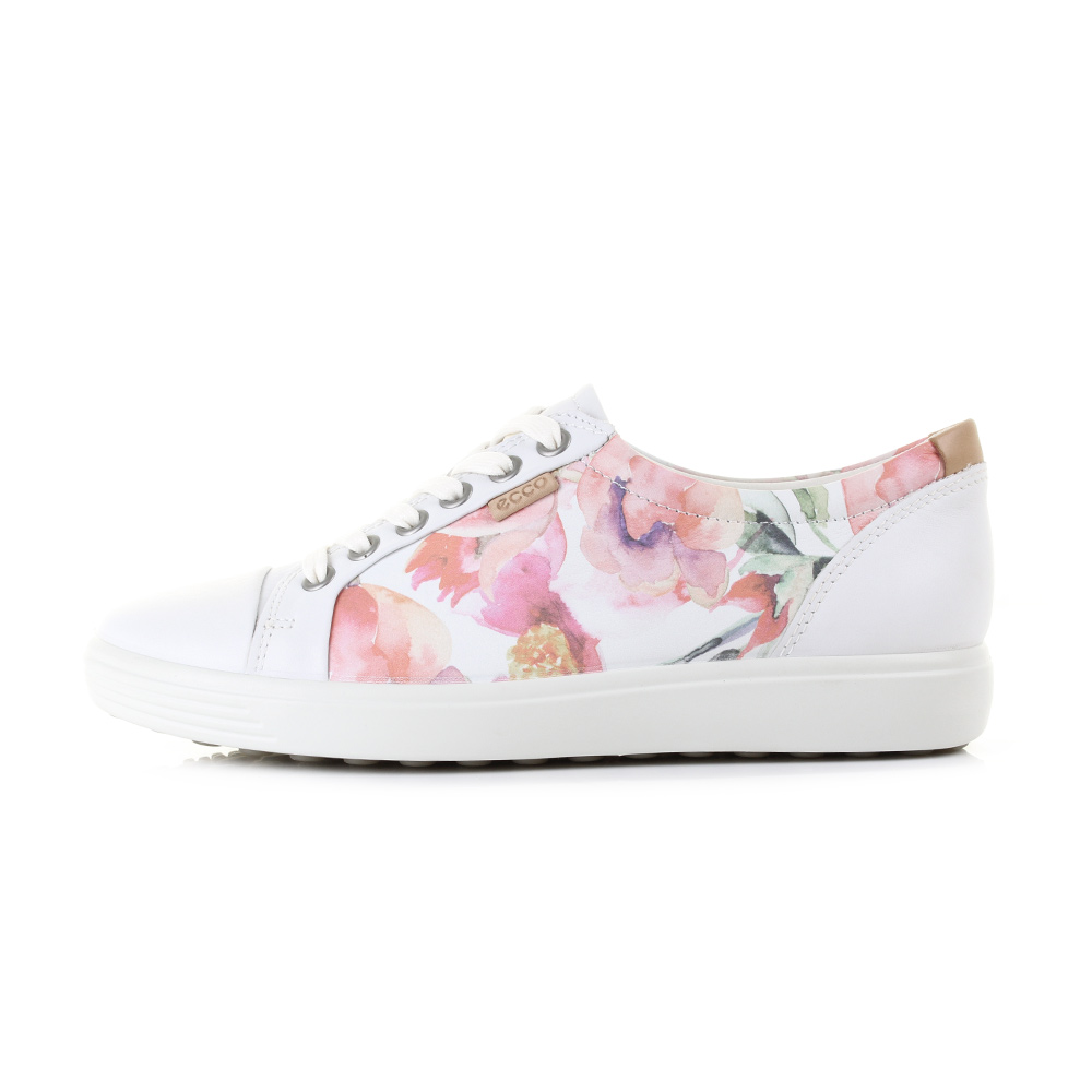 womens ecco soft 7 white floral print leather lightweight casual shoes uk size ebay. Black Bedroom Furniture Sets. Home Design Ideas