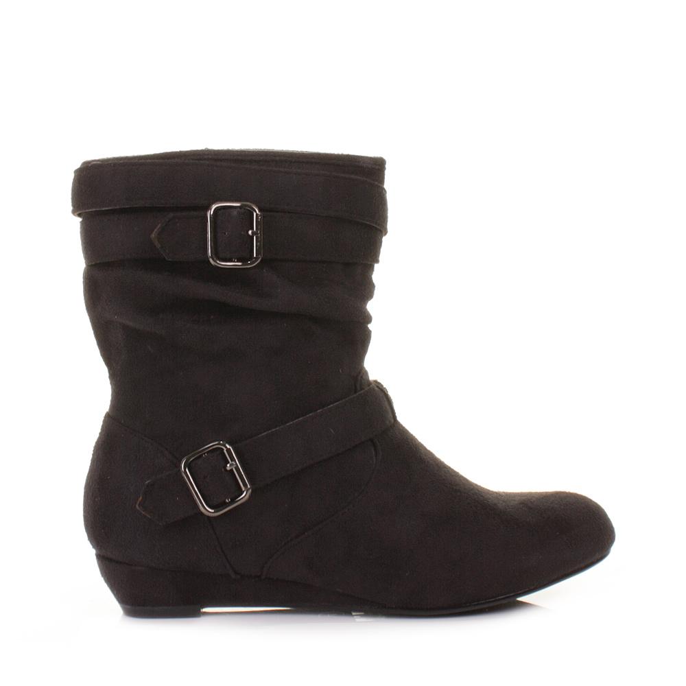 womens black suede look low wedge heel ankle calf boots