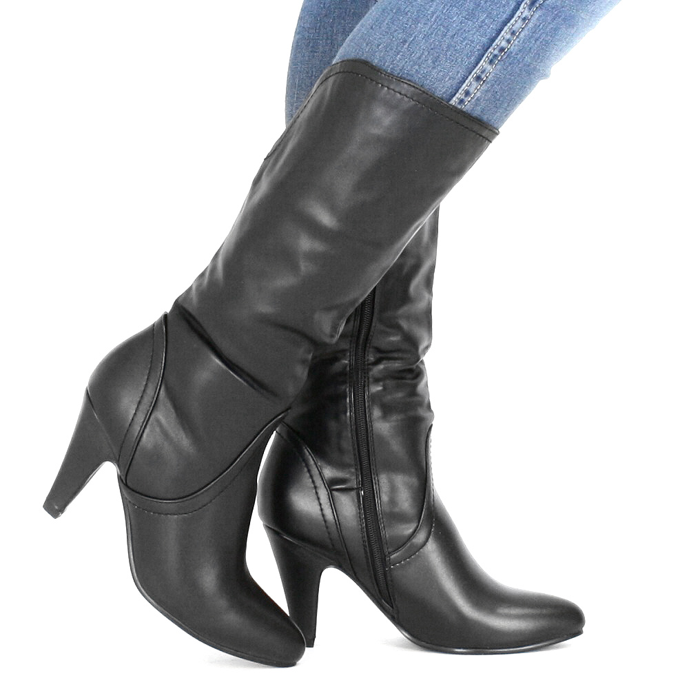 damen stiefel schwarz kunstleder wadenhoch absatz boots gr e 36 41 ebay. Black Bedroom Furniture Sets. Home Design Ideas