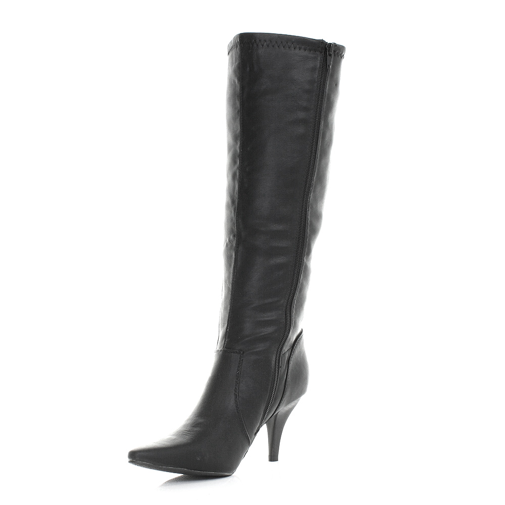 womens knee high leather pointed toe mid heeled